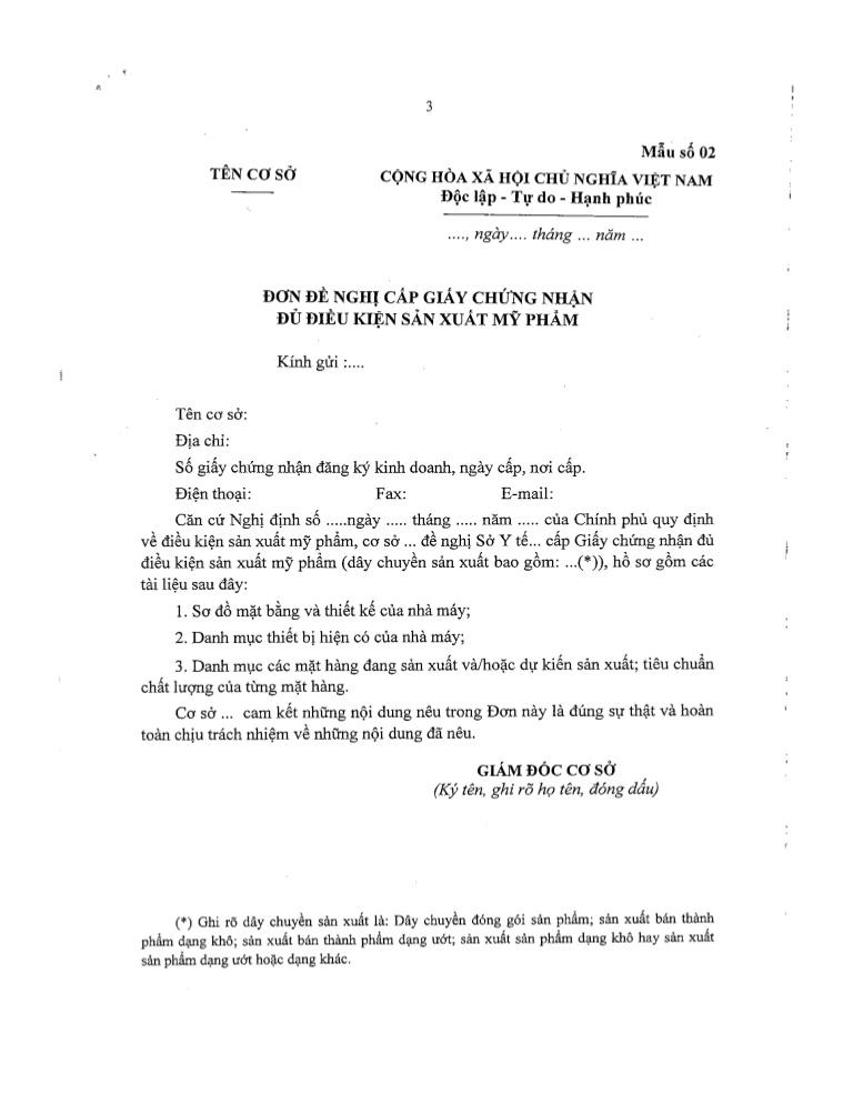 Hồ sơ xin cấp giấy chứng nhận sản xuất mỹ phẩm